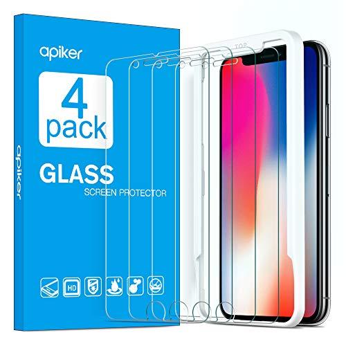 Apiker [4-Unidades] Cristal Templado Compatible iPhone