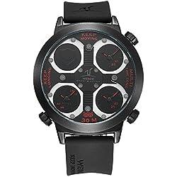 Alienwork Sport Quartz Watch Multi Time Zones Wristwatch XXL Oversized Polyurethane black black OS.UV1503-4