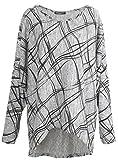 Emma & Giovanni - Langarmshirt Mit Druck- Pullover- Asymmetrisch Top - Damen ,2XL,Grau
