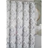 Encaje cortina de ducha de tela Tahari mezcla de algodón gris y blanco Damasco Chinoisserie