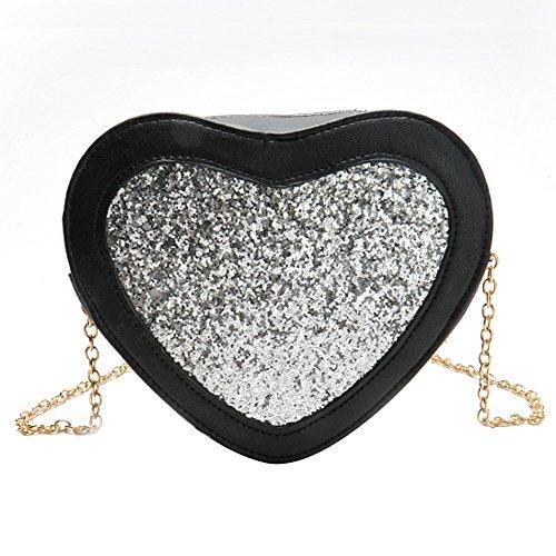 OneMoreT Umhängetasche in Herzform, PU-Leder, für Damen, Messenger Bag, Mädchen, mit Glitzersteinchen silber -