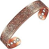 Wollet Jewelry - Bracciale rigido magnetico in rame, da uomo, per alleviare il dolore causato dall'artrite, 17,78 cm, con 6 m