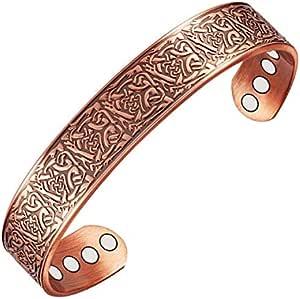 Wollet Jewelry - Bracciale rigido magnetico in rame, da uomo, per alleviare il dolore causato dall'artrite, 17,78 cm, con 6 magneti