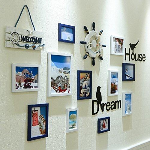 Lx.AZ.Kx Cadres Photo décoration murale de style européen pendaison Nailless Clip Salon Photo Frame Combinaison de blanc et bleu