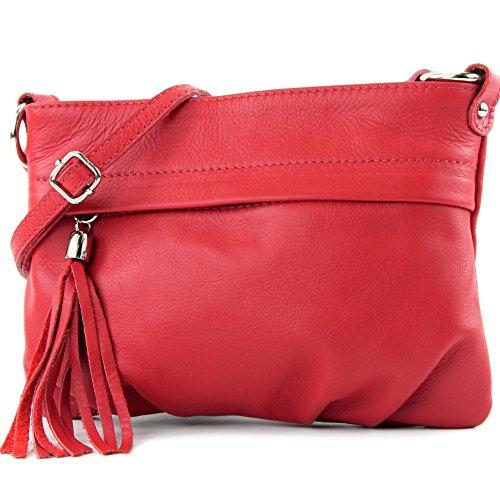 modamoda - ital. Ledertasche Umhängetasche Handtasche Klein Damentasche Nappaleder T32 Rot