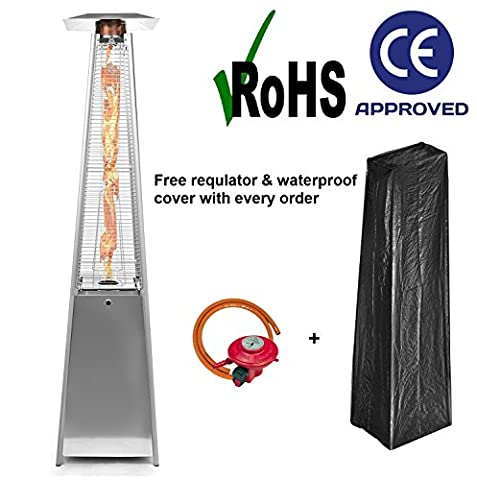 Outdoor Patio Pyramid Heater 13kw Stainless Steel Quartz Glass Flame Tube FREE Cover, Wheels, Reg & Hose