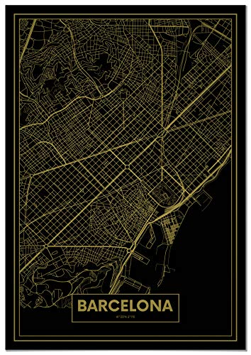 Panorama® Póster Mapa Oro Barcelona 50 x 70 cm |