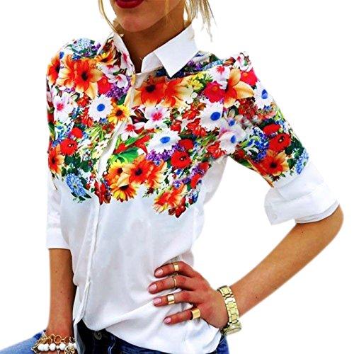 sche Frauen Hemden Lange Ärmel Druck Hemd Blouse Weiß (XL, Blume) (Blumen-mädchen-schuhe Billig)