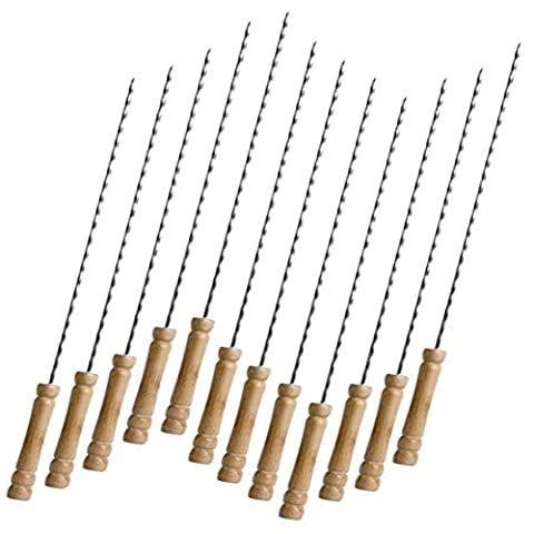 Syolee BBQ Kebab Skewers - Twisted Stainless Steel Barbecue Skewers - Wooden Handle Kebab Sticks Ideal for Barbecue and Cooking - Set of 12