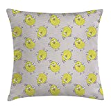 Grey and Yellow Throw Pillow Cushion Cover, Sketchy Hand Drawn Design of Cartoon Owls Modern Hipster Style Image, Decorative Square Accent Pillow Case,Marigold and Teal 16X16 inches