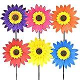 Fansport 6 UNIDS Kids Pinwheel 3D Girasol Juguete de Plástico Molino de Viento Partido Molinete Viento Spinner para Niños Al Aire Libre