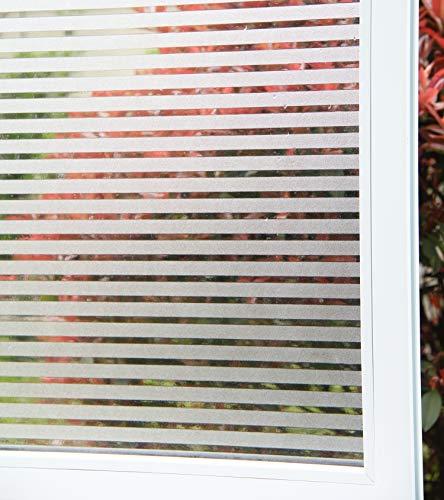 Concus-T Motif Rayure Autocollant Fenêtre Film Statique Adhérence Sans Adhésif Vinyle Premium Décoratif Rayures Givrées Privacy Fenêtre Film 90cmx300cm