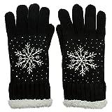 CASPAR GLV009 warm gefütterte Damen Strick Handschuhe mit gesticktem Eiskristall und dezentem Strass, Farbe:schwarz;Größe:One Size