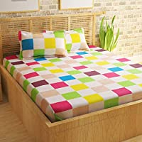 Story at Home Flat Double Bedsheet with 2 Pillow Cover, Multi-Colour, 235 x 270 cm, MT1403