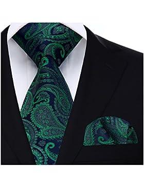 Hisdern Panuelo de lazo floral de la boda de Paisley Corbata de los hombres y conjunto de bolsillo cuadrado
