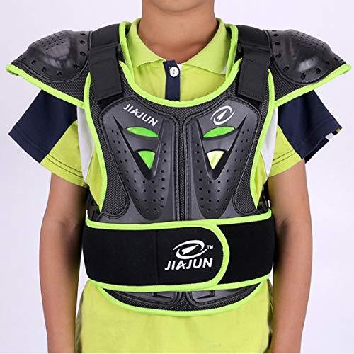 HBLWX Motorrad-Schutzweste, Off-Road-Panzer Anti-Kollisions- und bruchsicherer Brustrücken Protective Jacket-Ausrüstung für Kinderreiter-Grün,S