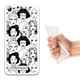 WoowCase Wiko Selfy 4G Hülle, Handyhülle Silikon für [ Wiko Selfy 4G ] Rote Lippenstift Mädchen Handytasche Handy Cover Case Schutzhülle Flexible TPU - Transparent