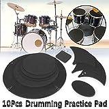Sordina per batteria, set da 10 pezzi in gommapiuma per tamburo e basso, per suonare il tamburo e il rullante, silenzioso e silenzioso