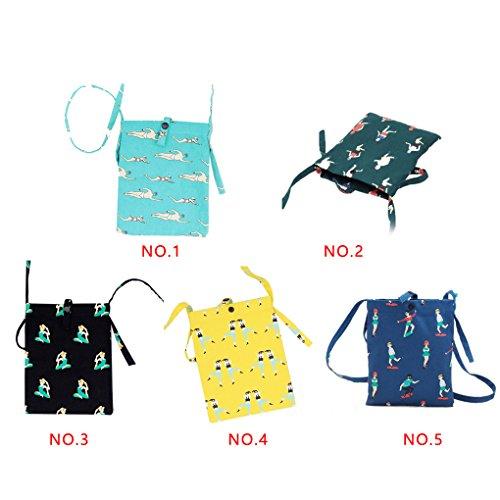 LUFA Baumwolle Leinwand Messenger Bag Cute Little Fresh Kaktus Weiblich Minimalist Small Bag Schwarz