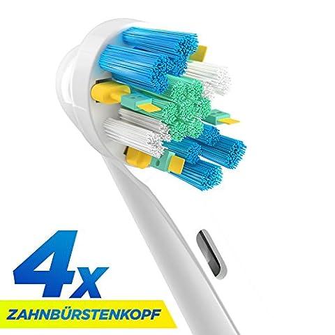 ORAX Aufsteckbürsten für Oral B elektrische Zahnbürsten, 4 Stück, Floss Action /