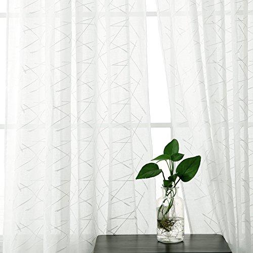 Deconovo tenda voile ricamate linee pattern tenda trasparente con occhielli per camera da letto 140x240 cm bianco un pannello