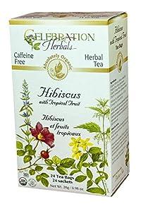 Celebration Herbals Organic Hibiscus with Tropical Fruit Tea Caffeine Free -- 24 Tea Bags 28g