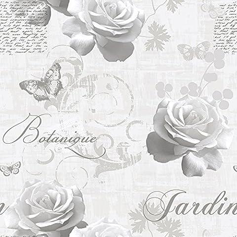 Muriva 127501 Botanical Garden Wallpaper Roll - Silver