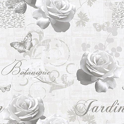 New Luxury - Rotolo di carta da parati Muriva, metallico, motivo: giardino botanico con fiori e farfalle SILVER 127501