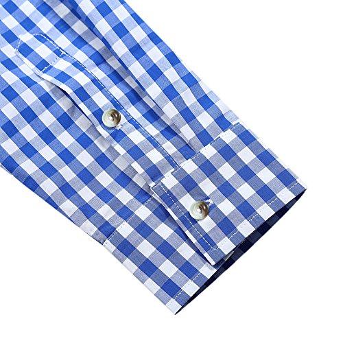 KoJooin Trachten Herren Hemd Trachtenhemd Langarmhemd Freizeithemd Baumwolle - für Oktoberfest, Business, Freizeit (Blau M) - 6