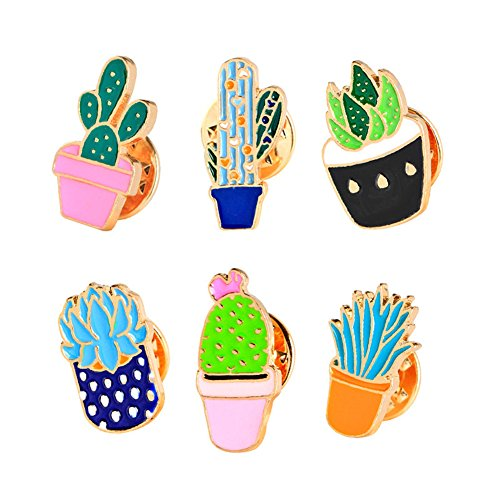 Cartoon Cute Enamel Brooch Set, 6 Pcs Plant Brooch Pin Badge for Clothing Bags Backpacks for Women Girls