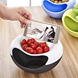 Skyfish Fruit Platter Bowl Double Dish Smiley Nut Bowl Storage Tray Storage Fruit Box With Cellphone Holder (Multi Color)