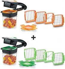 Genius Nicer Dicer Quick Set | Gemüseschneider | Obstschneider | Allesschneider | Zwiebelschneider | Spaltenschneider | Eierschneider | Kartoffelschneider | Würfelschneider | Multischneider | Zerkleinerer | Pommesschneider