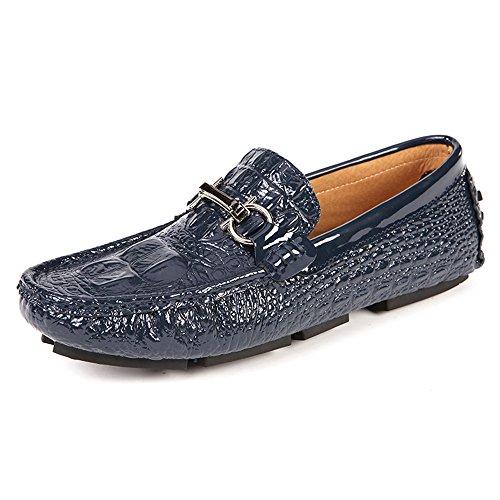 Mens Casual Loafers Herren Slip auf Mokassins Fahrschuhe Blau