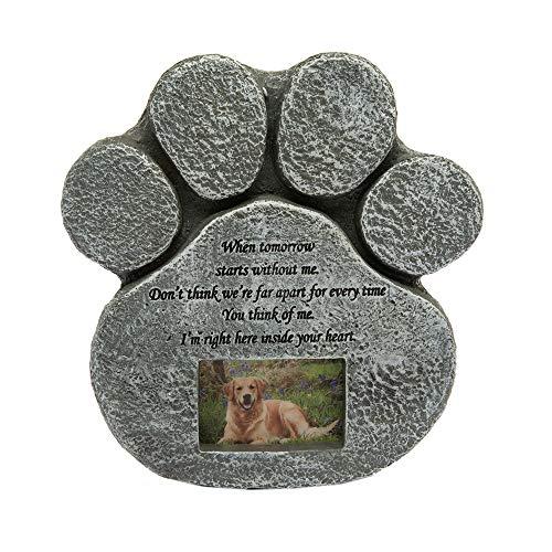 Hyindoor Hund Gedenkstein Haustier Grabstein mit Spruch und Bilderrahmen