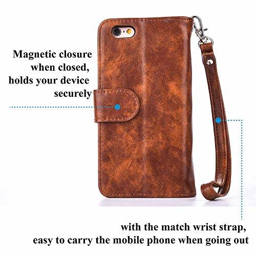 Custodia iPhone 7,Custodia iPhone 8, COOSTOREEU Borsa con Zip in Pelle Premium PU con Cinturino da Polso Portafoglio Magnetico con Flip Side, Custodia Staccabile 2 in 1 con 5 Slot per Apple iPhone 7 / Marrone