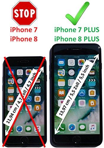 Luxus Tasche für Apple iPhone 8 Plus und iPhone 7 Plus (5.5 Zoll) / Case mit Echt-Leder Außenseite / Schutz-Hülle seitlich aufklappbar / ultra-slim Cover / Etui mit Textil-Innenseite / Farbe: Weiß - Bild 4