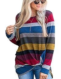 ECOWISH Langarmshirt Damen Lose Oversize Pullover Gestreift Rundhals Tshirt  Hemd Oberteile Tops 45f9fe245f