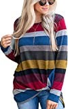 ECOWISH Langarmshirt Damen Lose Oversize Pullover Gestreift Rundhals Tshirt Hemd Oberteile Tops 083 Rot XL