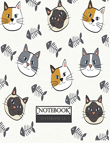Notebook: Cats and fishbone on gray cover and Lined pages, Extra large (8.5 x 11) inches, 110 pages, White paper (Cats and fishbone on gray notebook) - Fishbone Cover