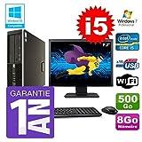 HP PC 8200 SFF Intel I5-2400 8Go Disque 500Go Graveur WiFi W7 Ecran 19