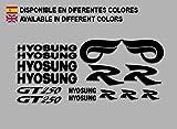 Ecoshirt QL-MQX1-L8WB Autocollants Hyosung GT 250 F213 Stickers Aufkleber Decals Autocollants Bike Moto GP, Noir