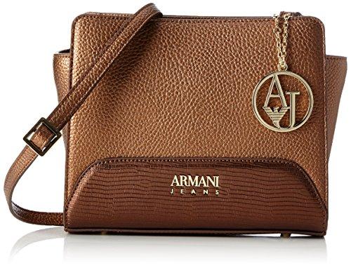 Armani Jeans Damen Borsa Tracolla Baguette, Braun (Bronzo), 19 x 8 x 16 cm