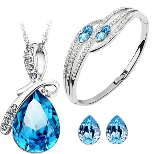 Cyan Bow Style Crystal Jewelry Set Combo Elegant Bracelet for Girls  available at amazon for Rs.499