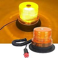 CAR SHUN Luz De Faro De Emergencia, LED Coche Construcción Luces Ámbar Techo De Emergencia Faro De Advertencia Estroboscópica con Base Magnética Fuerte para Camiones Autobús Escolar
