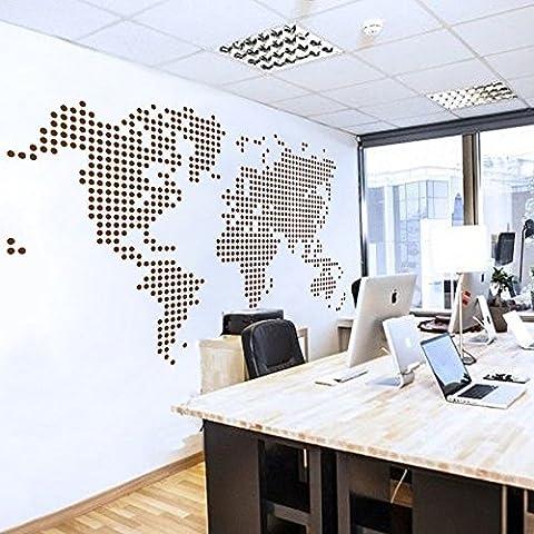 Mapa del Mundo pared adhesivo País De Mundo Atlas todo el mundo vinilo pared de tarjeta Decor Oficina de pared Artificial de de Decoración, vinilo, marrón,