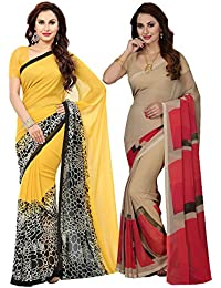 Ishin Combo Of 2 Faux Georgette Yellow & Beige Printed Women's Saree/Sari