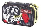 Alex & Co Astuccio Triplo Superstar con Colori, Pennarelli ed Accessori Scuola, Poliestere, Nero, 20 cm