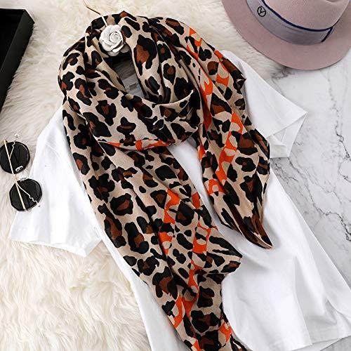 Hmeili Schals Herbst Und Winter Klassische Vielseitige Baumwolle Brief Muster Leopard Schal Weibliche Warme Schal Bib Dual-Use Langen Abschnitt -