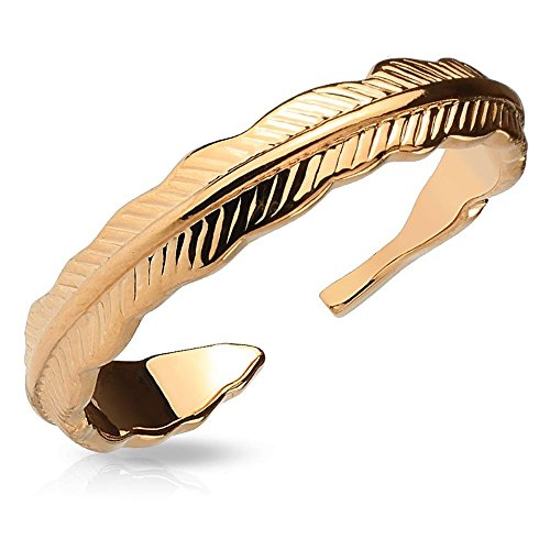 Bungsa® Rosegold - Federn Zehenring Damen GOLD / SILBER / ROSEGOLD (Zehring Fussschmuck Fussring Toe-Ring Nail Ring Nagelring biegbar verstellbar)