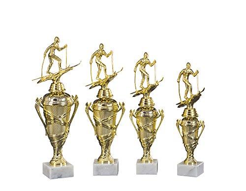 4er-Serie Skifahrer-Pokale (Langlauf, Abfahrt oder Slalom) mit Wunschgravur und 3 Skifahrer-Anstecknadeln (Sticker) (Mit Slalom-Figuren)